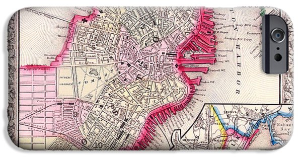 City. Boston Drawings iPhone Cases - Antique Map of Boston 1864 iPhone Case by Mountain Dreams