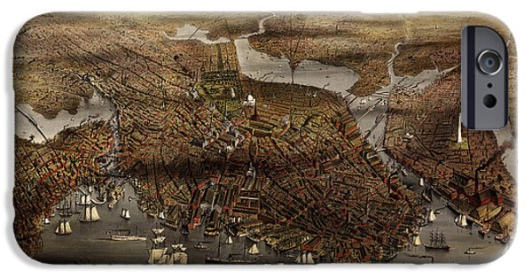 Map Of Boston iPhone Cases - Antique Map of Boston by Currier and Ives - 1873 iPhone Case by Blue Monocle