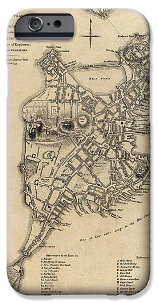 Map Of Boston iPhone Cases - Antique Map of Boston by William Faden - 1777 iPhone Case by Blue Monocle