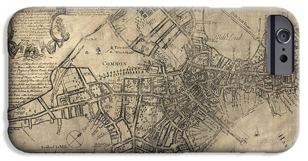 Map Of Boston iPhone Cases - Antique Map of Boston by William Price - 1769 iPhone Case by Blue Monocle