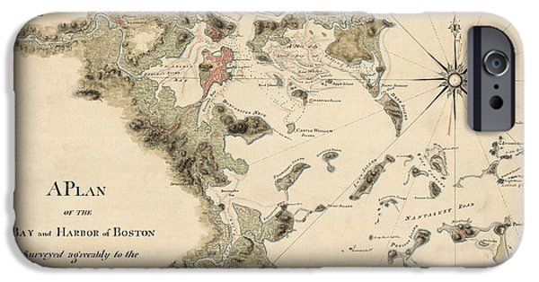 Map Of Boston iPhone Cases - Antique Map of Boston Harbor by Thomas Wheeler - circa 1775 iPhone Case by Blue Monocle