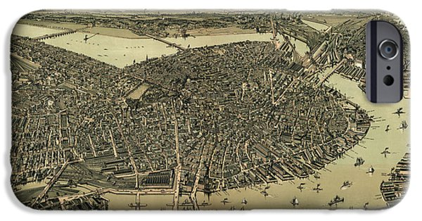 Boston Massachusetts iPhone Cases - Antique Map of Boston Massachusetts by A.E. Downs - circa 1899 iPhone Case by Blue Monocle