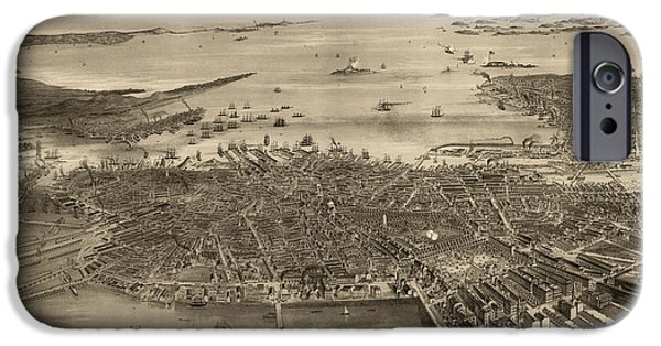 Map Of Boston iPhone Cases - Antique Map of Boston Massachusetts by F. Fuchs - 1870 iPhone Case by Blue Monocle