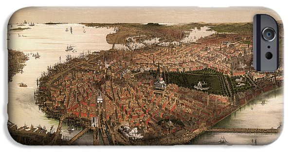 Boston Massachusetts iPhone Cases - Antique Map of Boston Massachusetts by John Bachmann - circa 1877 iPhone Case by Blue Monocle