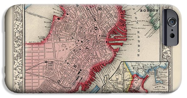Map Of Boston iPhone Cases - Antique Map of Boston Massachusetts by Samuel Augustus Mitchell - 1863 iPhone Case by Blue Monocle