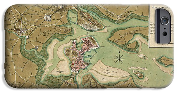 Map Of Boston iPhone Cases - Antique Map of Boston Massachusetts by Thomas Hyde Page - 1776 iPhone Case by Blue Monocle