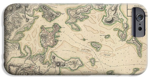 Map Of Boston iPhone Cases - Antique Map of Boston Massachusetts by Thomas Hyde Page - circa 1775 iPhone Case by Blue Monocle