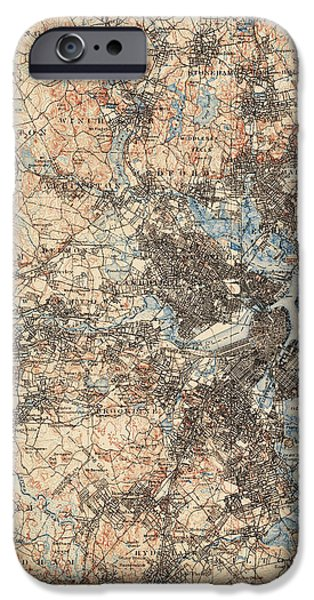 Boston Map iPhone Cases - Antique Map of Boston - USGS Topographic Map - 1903 iPhone Case by Blue Monocle