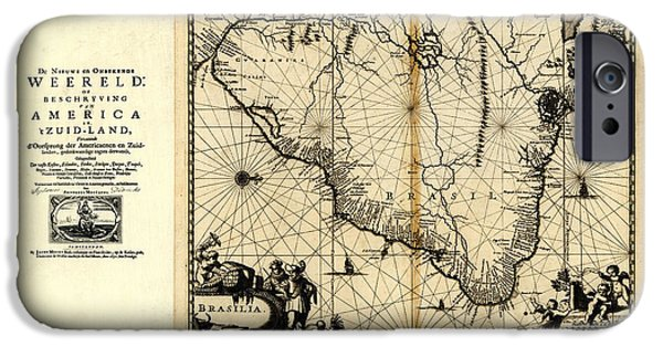 North Sea Drawings iPhone Cases - Antique Map of Brazil 1671 iPhone Case by Celestial Images