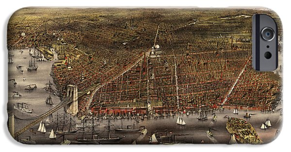 Old And New iPhone Cases - Antique Map of Brooklyn by Currier and Ives - circa 1879 iPhone Case by Blue Monocle
