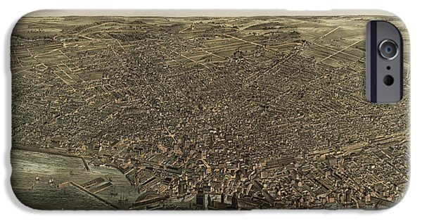 Buffalo Art iPhone Cases - Antique Map of Buffalo New York by Edward Howard Hutchinson - 1880 iPhone Case by Blue Monocle
