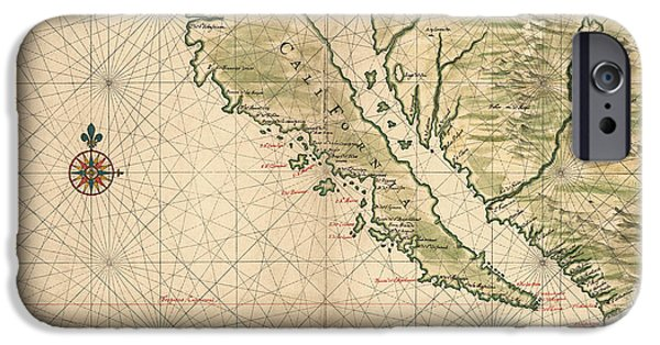 California Map iPhone Cases - Antique Map of California as an Island by Joan Vinckeboons - 1650 iPhone Case by Blue Monocle