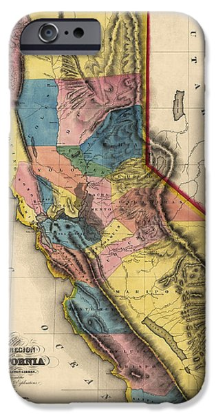 California Map iPhone Cases - Antique Map of California by Charles Drayton Gibbes - 1851 iPhone Case by Blue Monocle