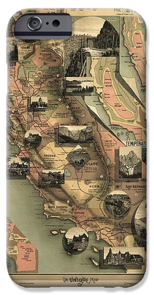 California Map iPhone Cases - Antique Map of California by E. McD. Johnstone - 1888 iPhone Case by Blue Monocle