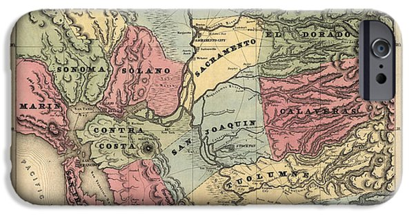 California Map iPhone Cases - Antique Map of California by William A. Jackson - 1851 iPhone Case by Blue Monocle
