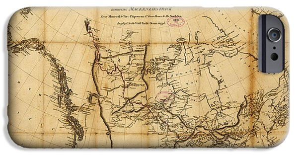 Map Of Canada iPhone Cases - Antique Map of  Canada 1801 iPhone Case by Celestial Images