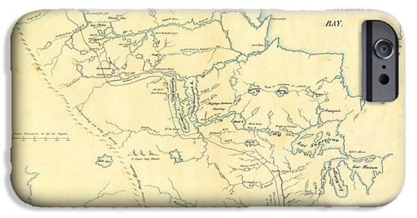 Map Of Canada iPhone Cases - Antique Map of  Canada USA Maps iPhone Case by Celestial Images