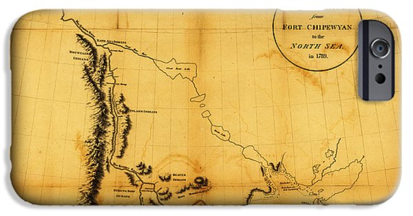 Map Of Canada iPhone Cases - Antique Map of  Canada Western 1801 2 iPhone Case by Celestial Images