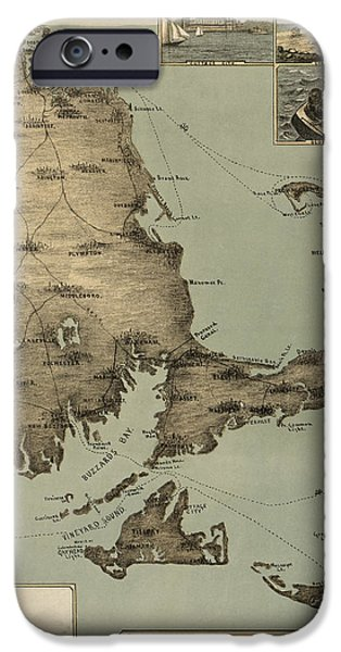 Vintage Drawings iPhone Cases - Antique Map of Cape Cod Massachusetts by J. H. Wheeler - 1885 iPhone Case by Blue Monocle