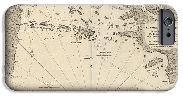 Maine Drawings iPhone Cases - Antique Map of Casco Bay and Portland Maine by Cyprian Southack - 1779 iPhone Case by Blue Monocle