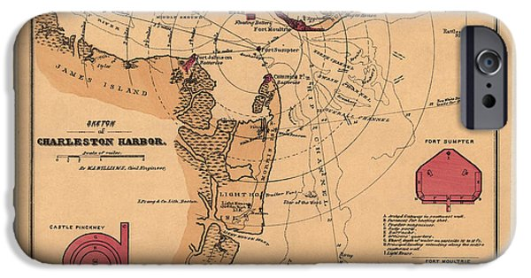 War iPhone Cases - Antique Map of Charleston Harbor South Carolina by W. A. Williams - circa 1861 iPhone Case by Blue Monocle