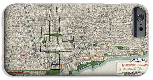 Sears Tower Drawings iPhone Cases - Antique Map of Chicago by Willis J. Champion - 1908 iPhone Case by Blue Monocle