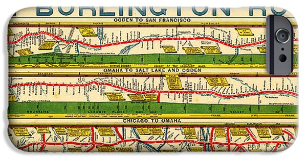 Chicago Paintings iPhone Cases - Antique Map of  Chicago to San Francisco iPhone Case by Celestial Images