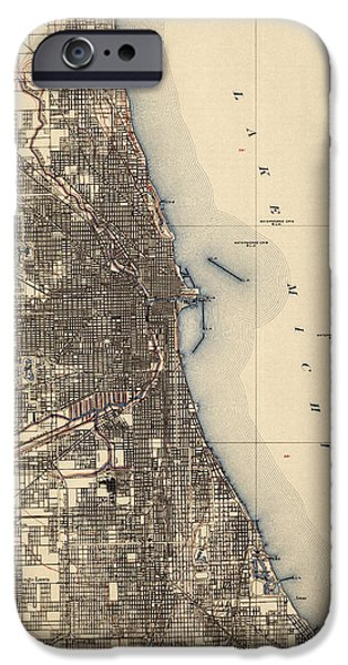 Antiques iPhone Cases - Antique Map of Chicago - USGS Topographic Map - 1901 iPhone Case by Blue Monocle
