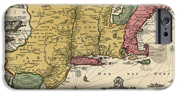 New Drawings iPhone Cases - Antique Map of Colonial America by Nicolaes Visscher - 1685 iPhone Case by Blue Monocle