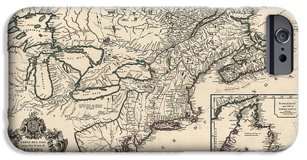 Great Lakes iPhone Cases - Antique Map of Colonial Canada and America by Didier Robert de Vaugondy - 1753 iPhone Case by Blue Monocle