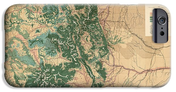 Colorado Drawings iPhone Cases - Antique Map of Colorado - 1877 iPhone Case by Blue Monocle