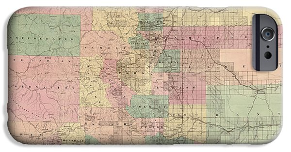 Colorado Drawings iPhone Cases - Antique Map of Colorado by G.W. and C.B. Colton and Co. - 1878 iPhone Case by Blue Monocle