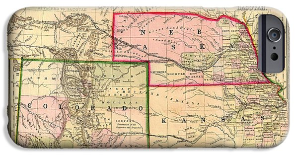 Colorado Drawings iPhone Cases - Antique Map of Colorado Nebraska and Kansas 1860 iPhone Case by Mountain Dreams