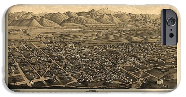 Colorado Drawings iPhone Cases - Antique Map of Colorado Springs and Manitou - 1882 iPhone Case by Eric Glaser
