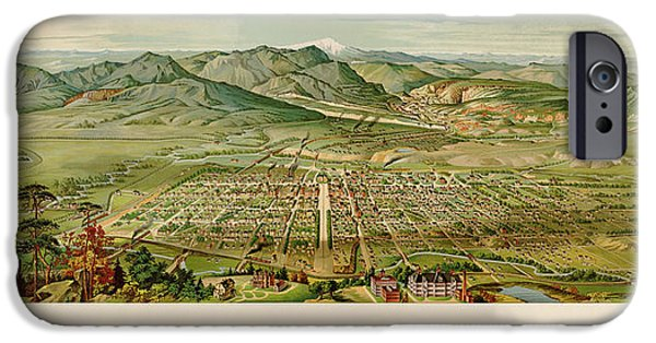 Colorado Drawings iPhone Cases - Antique Map of Colorado Springs by H. Wellge - 1890 iPhone Case by Blue Monocle