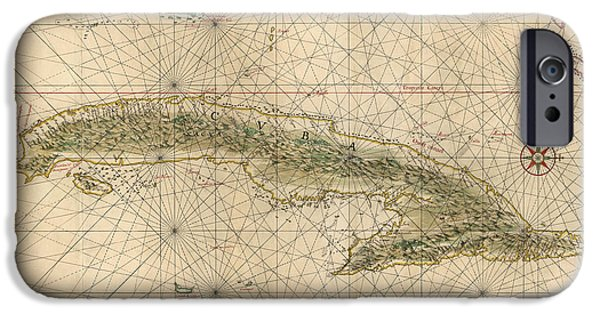 Cuba iPhone Cases - Antique Map of Cuba by Joan Vinckeboons - circa 1639 iPhone Case by Blue Monocle
