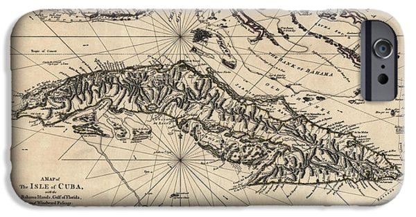 Cuba iPhone Cases - Antique Map of Cuba by Thomas Jefferys - 1768 iPhone Case by Blue Monocle