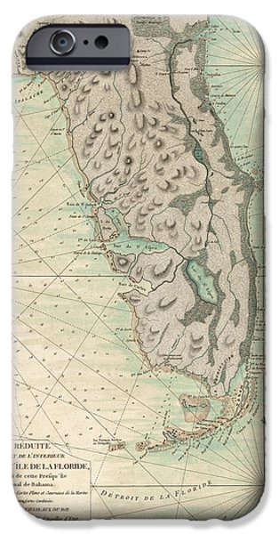 Charts iPhone Cases - Antique Map of Florida - 1780 iPhone Case by Blue Monocle