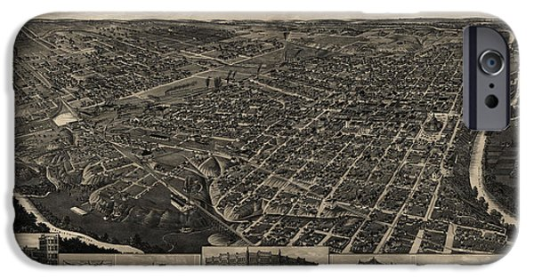 Fort iPhone Cases - Antique Map of Fort Worth Texas by H. Wellge - 1886 iPhone Case by Blue Monocle
