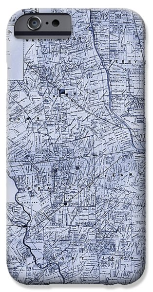 Franklin Drawings iPhone Cases - Antique Map of Franklin County Ohio 1883 iPhone Case by Mountain Dreams