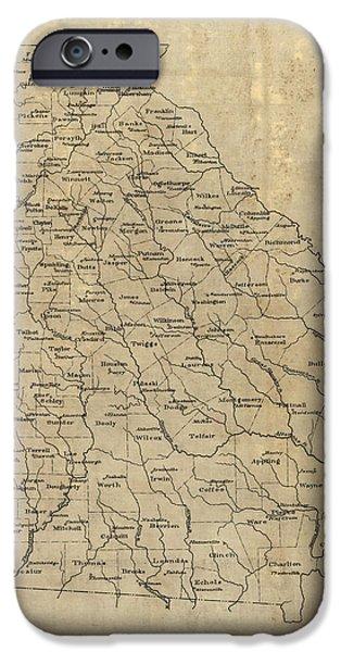 Georgia iPhone Cases - Antique Map of Georgia - 1893 iPhone Case by Blue Monocle