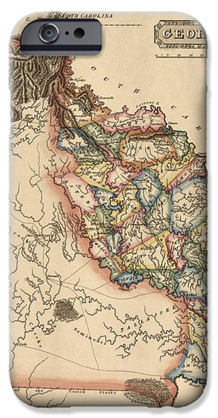 Georgia iPhone Cases - Antique Map of Georgia by Fielding Lucas - circa 1817 iPhone Case by Blue Monocle