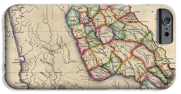 Georgia iPhone Cases - Antique Map of Georgia by Samuel Lewis - circa 1810 iPhone Case by Blue Monocle