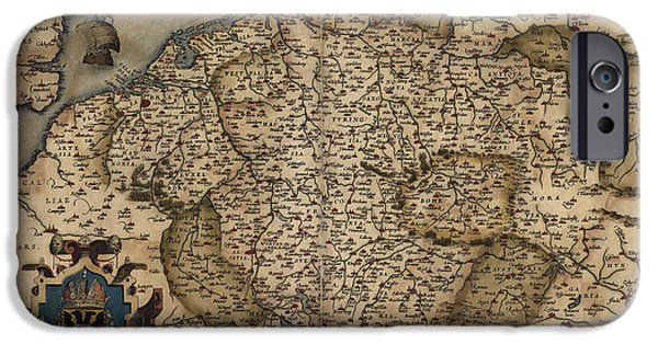 Map Of Germany iPhone Cases - Antique Map of Germany by Abraham Ortelius - 1570 iPhone Case by Blue Monocle