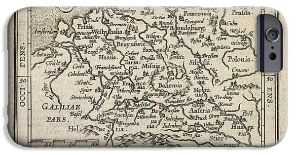 Map Of Germany iPhone Cases - Antique Map of Germany by Abraham Ortelius - 1603 iPhone Case by Blue Monocle