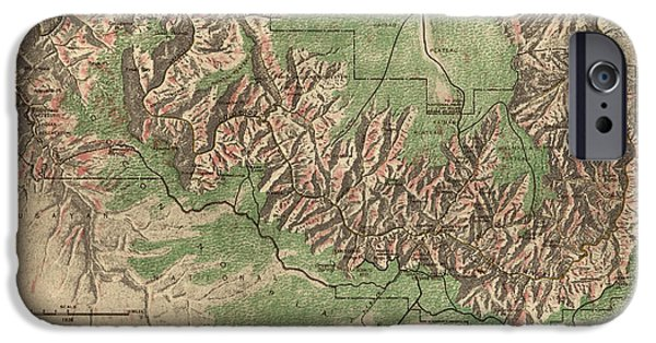 Grand Canyon Drawings iPhone Cases - Antique Map of Grand Canyon National Park by the National Park Service - 1926 iPhone Case by Blue Monocle