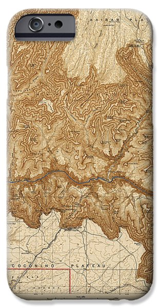 Grand Canyon Drawings iPhone Cases - Antique Map of Grand Canyon National Park - USGS Topographic Map - 1903 iPhone Case by Blue Monocle