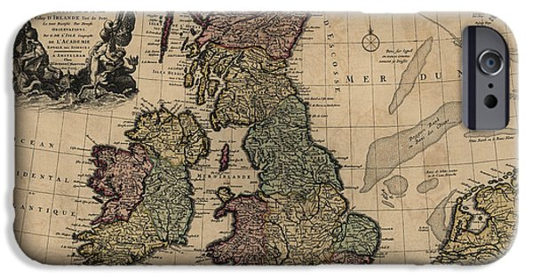 Recently Sold -  - Antiques iPhone Cases - Antique Map of Great Britain and Ireland by Guillaume Delisle - circa 1730 iPhone Case by Blue Monocle