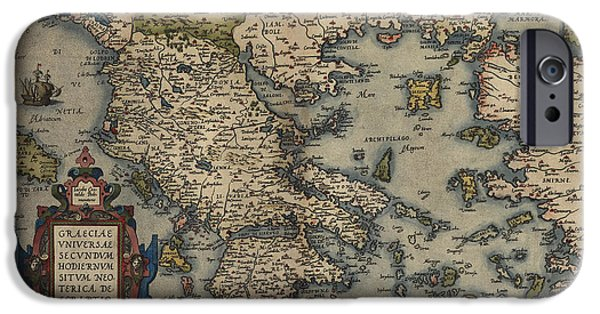 Greece iPhone Cases - Antique Map of Greece by Abraham Ortelius - 1570 iPhone Case by Blue Monocle