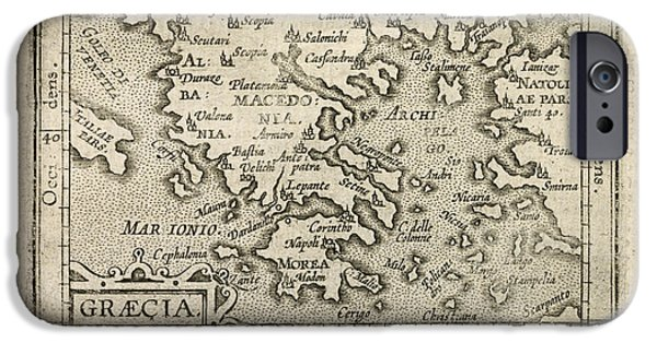 Greece iPhone Cases - Antique Map of Greece by Abraham Ortelius - 1603 iPhone Case by Blue Monocle